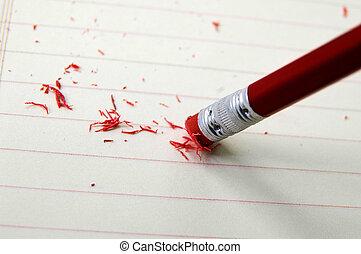 closeup, de, um, lápis, borracha, corrigir, um, erro