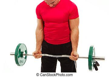 closeup, de, um, muscular, homem jovem, pesos erguendo, isolado, ligado, white.