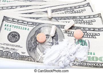 closeup, de, um, pílulas, ligado, um, dólares, (isolated, ligado, branco)