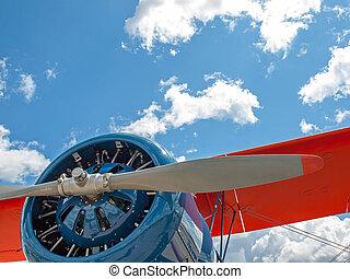 Closeup Detail of a Propeller Aircraft's Prop and Engine