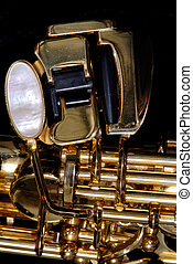 Closeup detail of a soprano saxophone