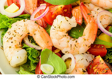 seafood salad with shrimps - closeup detail of fresh and...