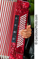 Closeup detail of hands playing a red accordion instrument.