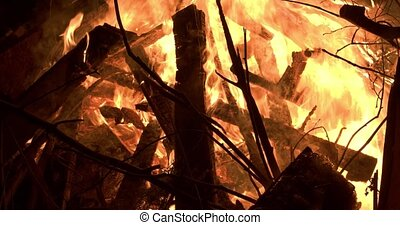 Closeup detail of material ablaze in a large forest fire - ...