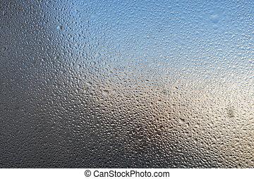 Closeup detail of Moisture condensation problems. Hot water...