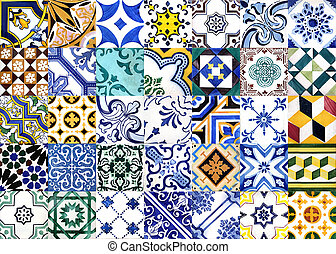 Portuguese glazed tiles - Closeup detail of old Portuguese...