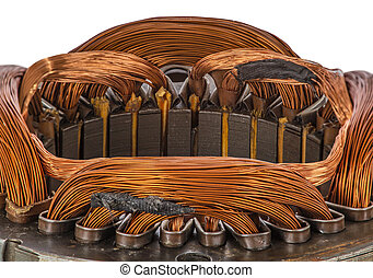 Closeup detail on an electric machine winding, isolated on...