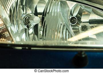 closeup, di, automobile, faro, dettaglio