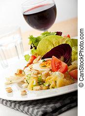 closeup, di, fresco, insalata mescolata