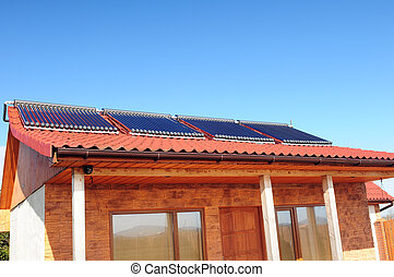 closeup, di, il, bungalow, con, solare, panels.