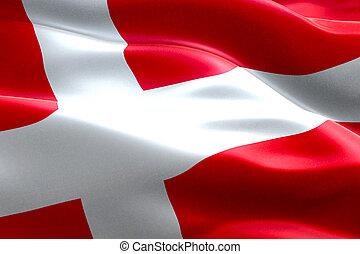 Bandiera Closeup Croce Rosso Ondeggiare Vento Bandiera Croce