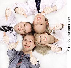 closeup, di, uno, felice, affari, team., isolato, su, white.