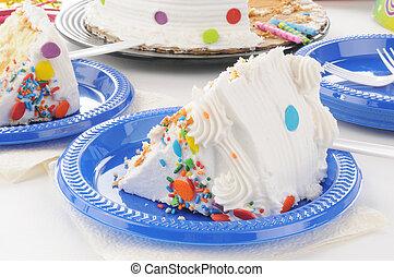 closeup, di, uno, fetta, di, torta compleanno