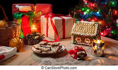 closeup, di, uno, tavola, set, con, regali natale