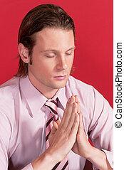 closeup, di, uno, uomo affari, in, preghiera, posa
