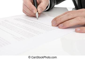 closeup, di, uno, uomo, firmare, uno, contratto