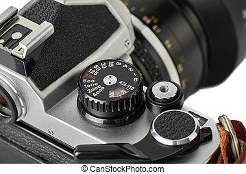 closeup, di, velocità imposta, quadrante, su, uno, classico, macchina fotografica