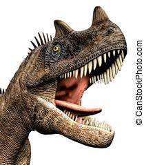 closeup, dinosaurierer, ceratosaurus