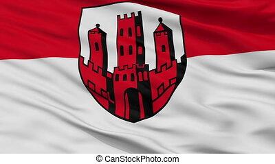 Closeup Dinslaken city flag, Germany - Dinslaken closeup...