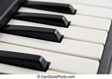 Closeup (DOF) of piano keyboard