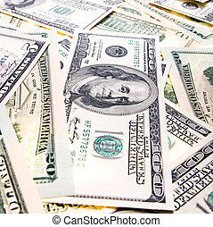 (closeup), dollars américains, tas