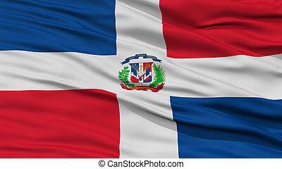 Closeup Dominican Republic Flag, Waving in the Wind, High...