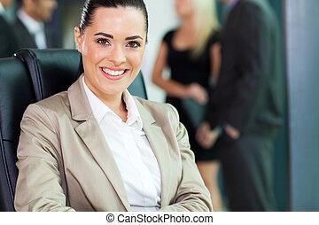 closeup, donna d'affari, giovane, ritratto, attraente