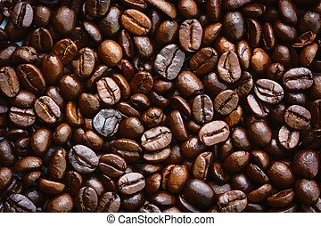 closeup dried coffee bean background, watercolor style