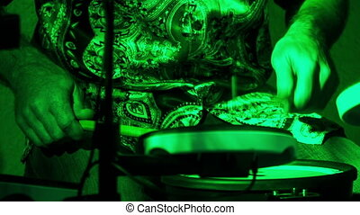 Closeup Drummer Plays in Night Bar under Light Flashes
