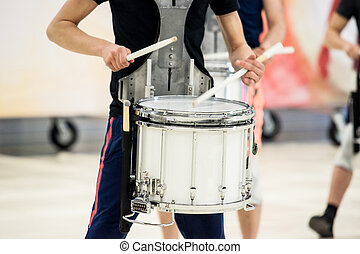 closeup drummer with a snare drum closeup