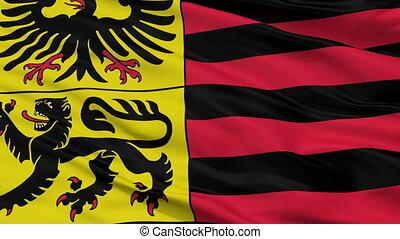 Closeup Duren city flag, Germany - Duren closeup flag, city...