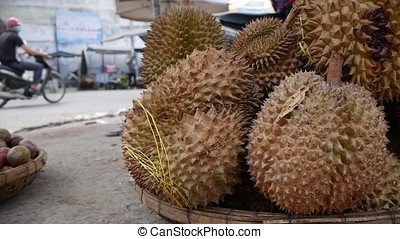 Closeup Durian in the market