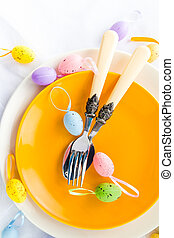 Closeup Easter place setting eggs