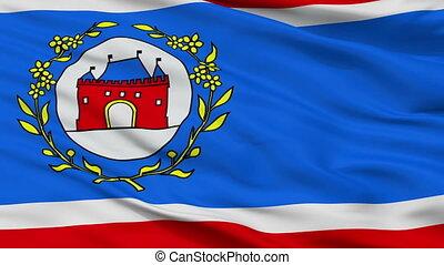 Closeup Elburg city flag, Netherlands - Elburg closeup flag,...