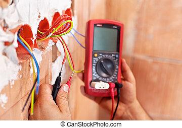 closeup, -, elettricista, lavorativo, mani