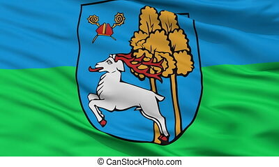 Closeup Elk city flag, Poland - Elk closeup flag, city of...