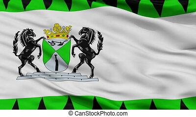 Closeup Emmen city flag, Netherlands - Emmen closeup flag,...