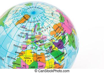 Closeup Europe of Globe model