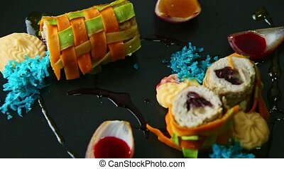 closeup exquisite decorated stuffed meat vegetable rolls ...