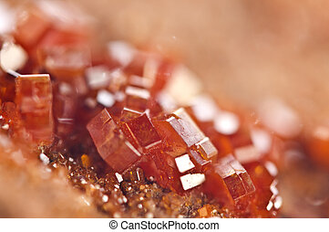 closeup, extremo, macro., cristais, vanadinite.