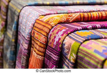 Closeup fabric thailand northeast style