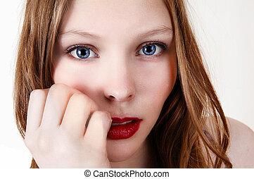 Closeup face of girl.