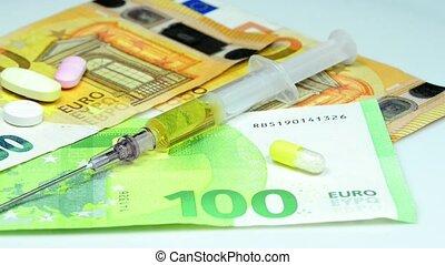 closeup, factures, euro, injection