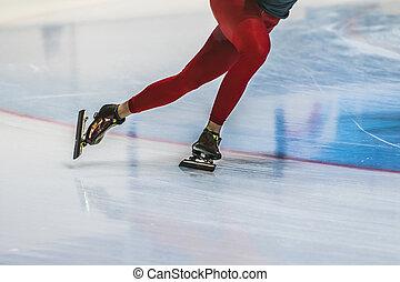 closeup feet girl skater riding on ice