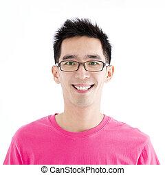 closeup, feliz, asiático, homem jovem, enfrente retrato
