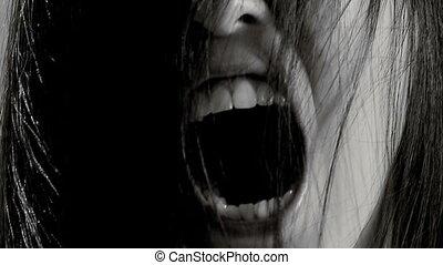 closeup, femelle asiatique, monstre