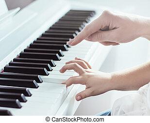 closeup, film, közül, 2 kezezés, játék zongora