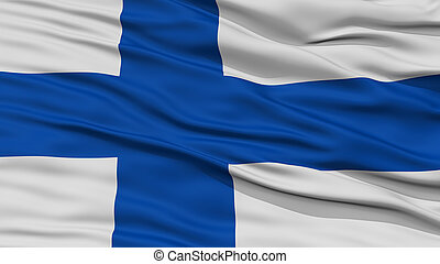 Closeup Finland Flag, Waving in the Wind, High Resolution