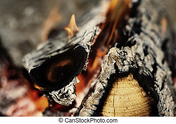 Closeup fireplace with burning fire woods.