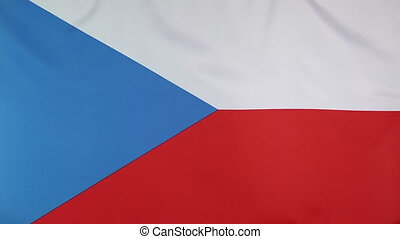 Closeup flag Czech Republic - Closeup of fabric national...